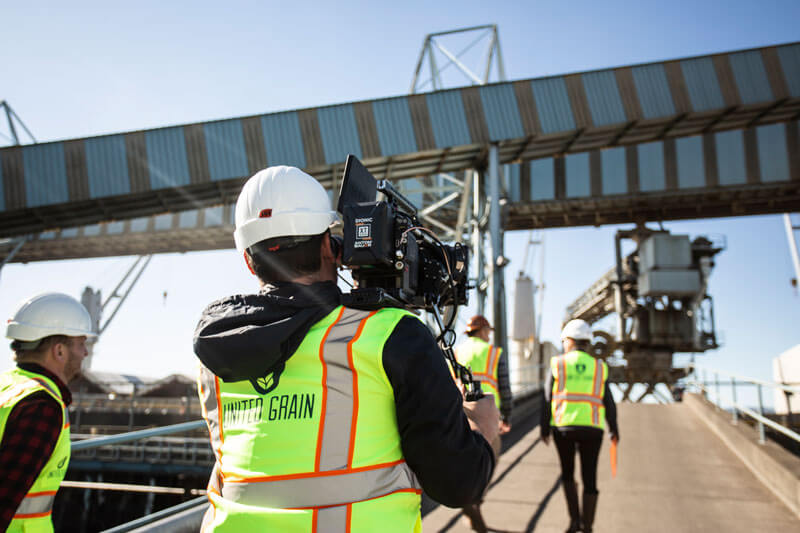 Middle filming at United Grain Corporation in Vancouver, Washington